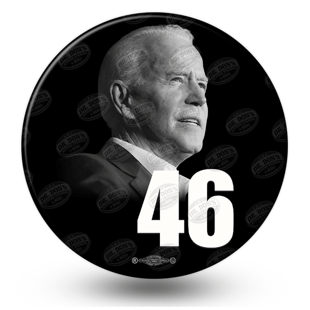 Joe Biden Photo pinback button, black with black and white photo, the number 46 in white, JB-322