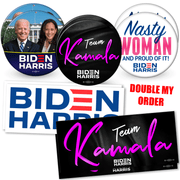 Double order of Biden Harris 2020 campaign button and bumper sticker bundle. White House photo button, Team Kamala button and Nasty woman button, Biden Harris Logo and Team Kamala bumper stickers, JB-SB-4
