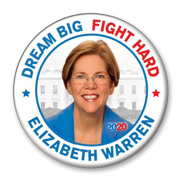 Dream Big Fight Hard / Elizabeth Warren 2020 Photo Campaign Pinback Button / EW-310 - Buttonsonline