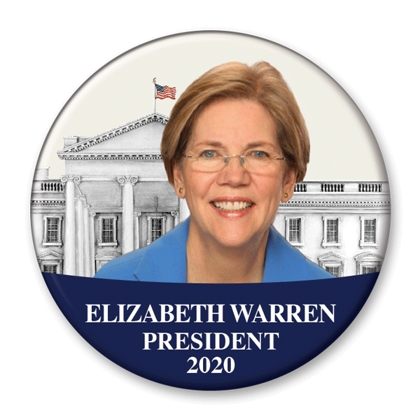 Elizabeth Warren President White House Photo Campaign Pinback Button / EW-308 - Buttonsonline