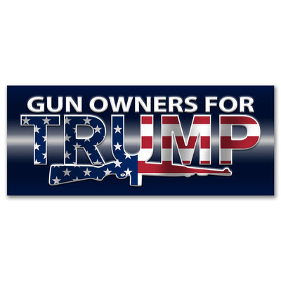 Gun Owners for Trump Bumper sticker red white and blue