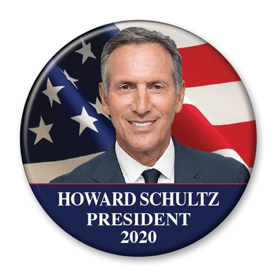 Howard Schultz / 2020 Flag Photo Presidential Pinback Button / HS-301 - Buttonsonline