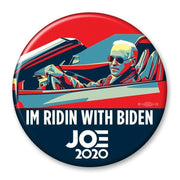 IM RIDIN WIH BIDEN  JOE  2020 Pinback button, Joe driving a car, JB-313