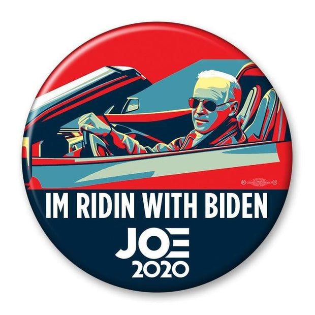 Im Ridin with Biden 2020 Campaign Pinback Button / JB-313