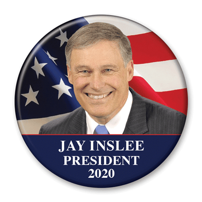 Jay Inslee / 2020 Flag Photo Presidential Pinback Button / JI-301 - Buttonsonline