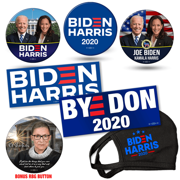 Biden Harris 2020 campaign button, mask and bumper sticker bundle. White house photo button, american flag photo button and official biden harris logo button, BYE DON and Biden Harris Logo bumper stickers, Biden Harris Mask, Bonus Ruth Bader Ginsburg button, JB-SB-5