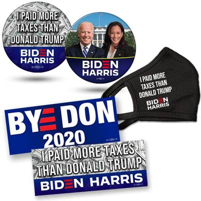 Biden Harris Supporter Bundle, I Paid more in taxes than Donald Trump button, White House photo button, Bye Don and I paid more taxes that Donald Trump bumper stickers, I paid more taxes than Donald Trump Mask, JB-SB-7