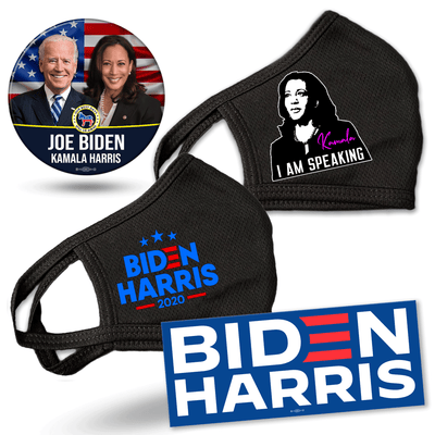 Biden Harris Supporter Bundle, blue logo with stars mask, I am Speaking Mask, Biden Harris blue bumper sticker, Flag background Biden Harris button, JB-SB-9