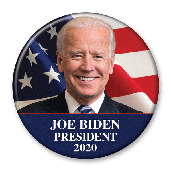 Joe Biden President 2020 USA Flag campaign photo pin back button, JB-301