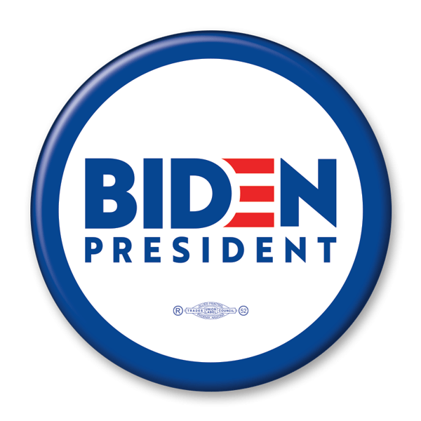 Biden for President campaign pinback button