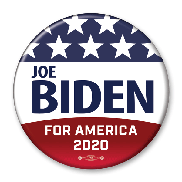 Joe Biden for America 2020 Red White and Blue campaign pin back button  Union Printed and made