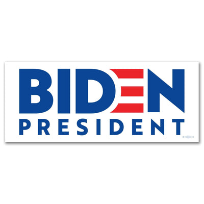 Biden President White Campaign Bumper Sticker with blue text and Red E, JB-BS-602
