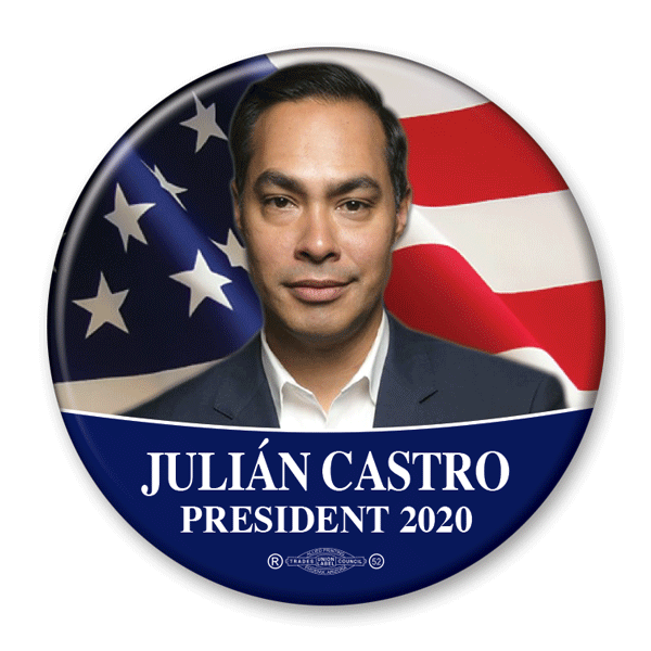 Julian Castro / President 2020 / Pinback Photo Button / JC-301 - Buttonsonline