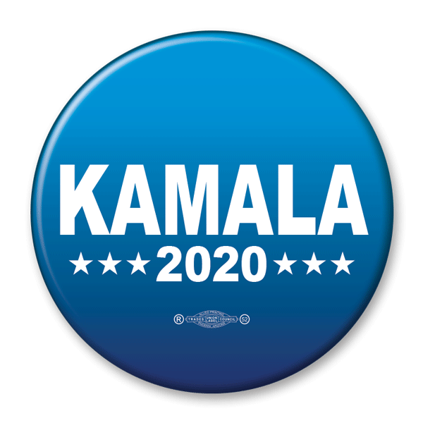 Kamala Harris 2020 Campaign Pinback Button, Blue with white text, KB-305 - Buttonsonline