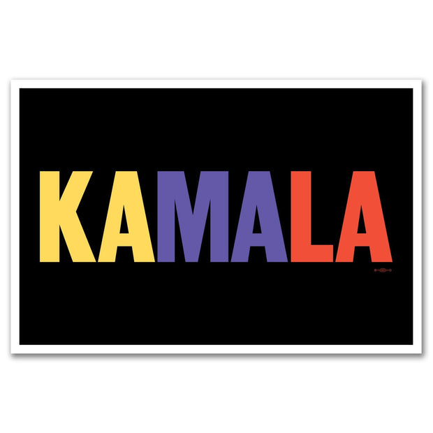 "Kamala Harris 2020 12"" x 18"" Rally Sign, black with yellow, purple and orange text, KH-Sign-3"