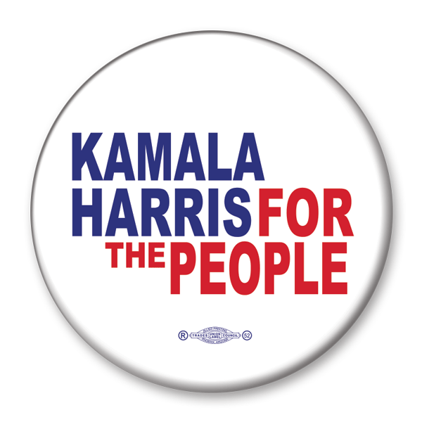 Kamala Harris for the People 2020 Presidential Pinback Button, white with blue and red text, KB-311