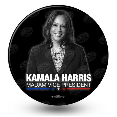 Kamala Harris Madam Vice President pinback button, black and white photo on black background, blue white and red stars, JB-327