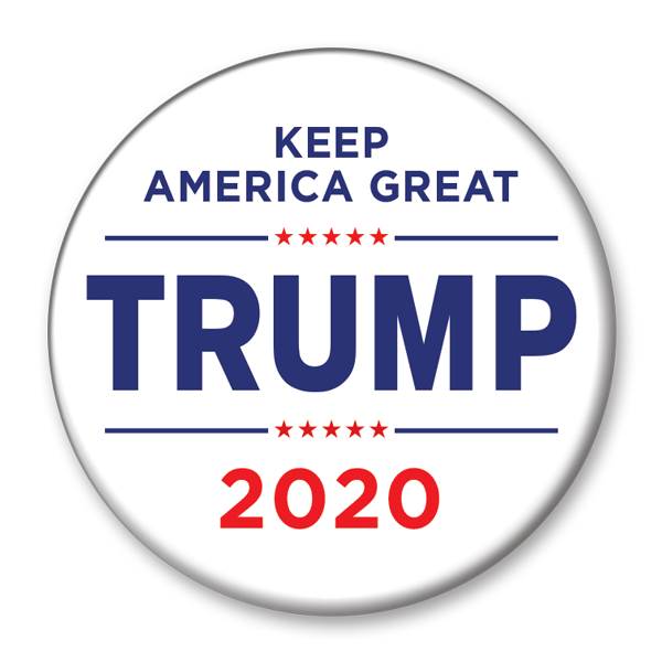 White Keep America Great Trump 2020 Pinback Button / DT-228 - Buttonsonline