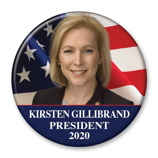 Kirsten Gillibrand / 2020 Flag Photo Presidential Pinback Button / KG-301 - Buttonsonline