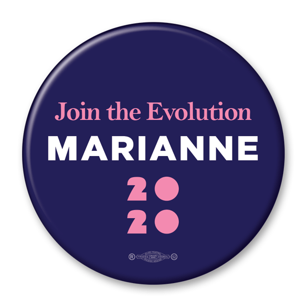 Marianne Williamson / Join the Evolution / 2020 Presidential Pinback Button / MW-302 - Buttonsonline