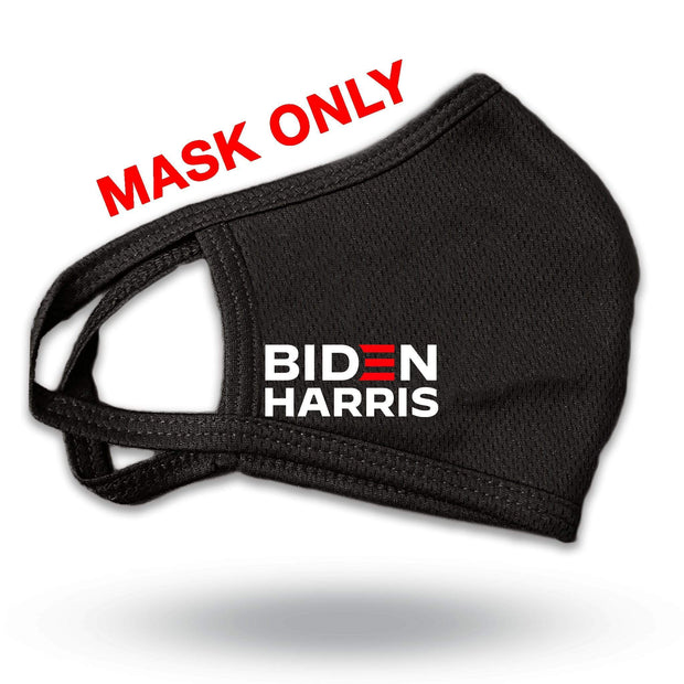 Biden Harris Black Campaign Reusable Mask, with white and red logo, JB-Mask-4