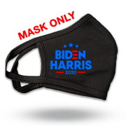 Biden Harris Black Campaign Reusable Mask, blue and red logo with stars,JB-Mask-6