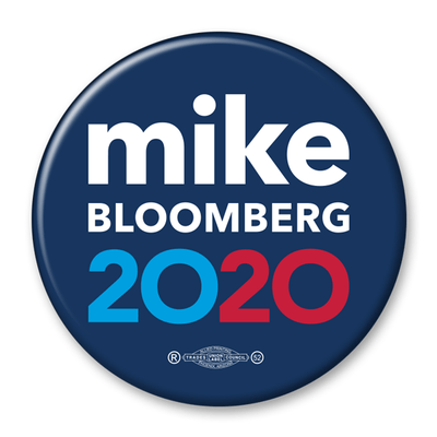 Mike Bloomberg President 2020 Blue Campaign Pinback Button / MB-302 - Buttonsonline