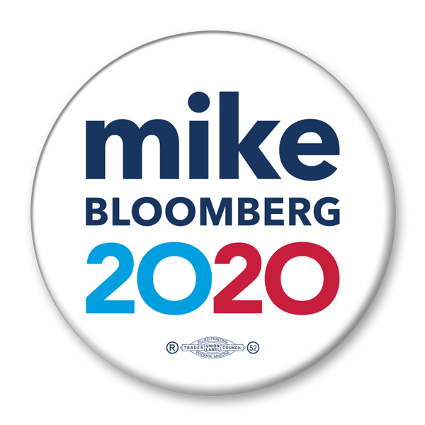 Mike Bloomberg President 2020 White Campaign Pinback Button / MB-303 - Buttonsonline