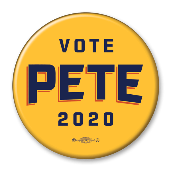 Vote Pete 2020 Yellow Campaign Pinback Button / PB-303 - Buttonsonline