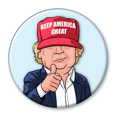 President Donald Trump Character Keep America Great Pinback Button / DT-310 - Buttonsonline