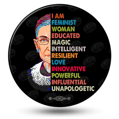 Ruth Bader Ginsburg memorial pinback button,colorful, half face, RGB-2
