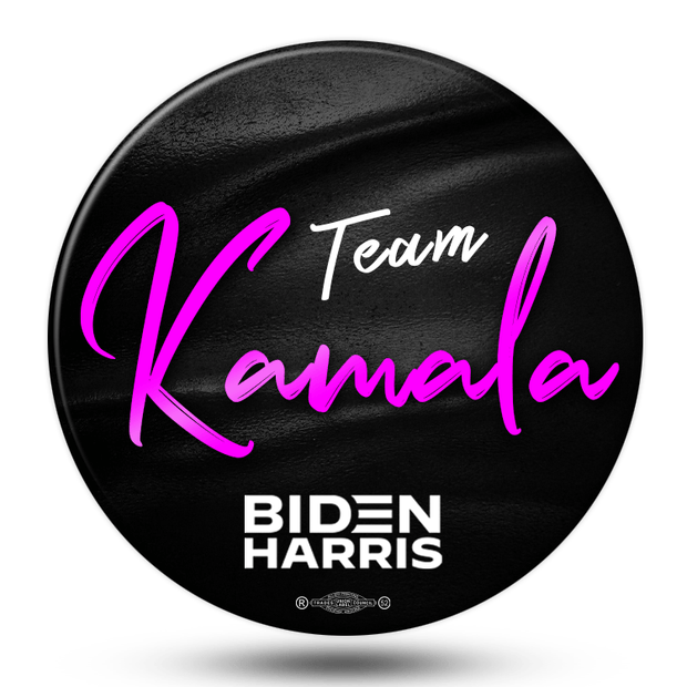 Team Kamala Biden Harris campaign button. Black Leather texture look