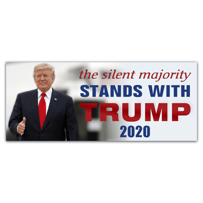 Trump 2020 campaign sticker the silent majority stands with trump
