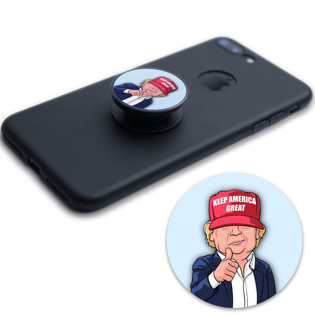 Trump 2020 Caricature Round Vinyl Pop Socket Sticker / DT-PS-3 - Buttonsonline