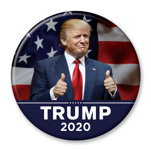 Trump 2020 Thumbs Up Photo Pinback Button / DT-234 - Buttonsonline
