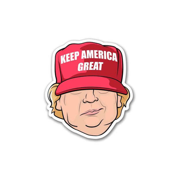 Trump 2020 Red Hat Keep America Great Character Vinyl Sticker / DT-Vinyl-625 - Buttonsonline