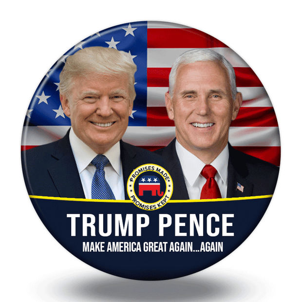 Trump Pence 2020 Campaign Photo Pinback Button