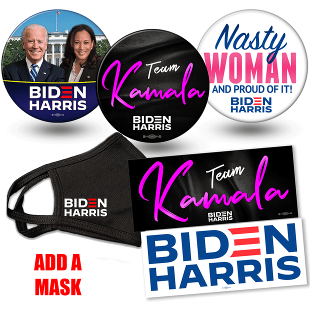 Add a Mask to Biden Harris 2020 campaign button and bumper sticker bundle. White House photo button, Team Kamala button and Nasty woman button, Biden Harris Logo and Team Kamala bumper stickers, JB-SB-4