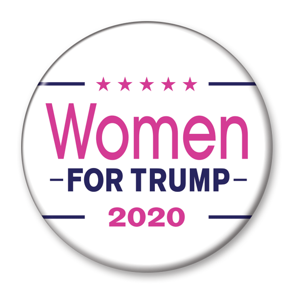 Women for Trump 2020 Campaign Pinback Button / DT-256 - Buttonsonline