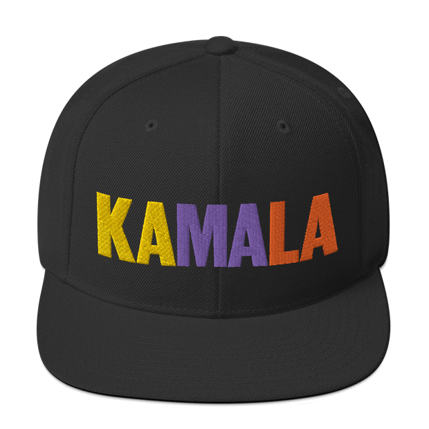 Kamala Harris 2020 Snapback Hat , Yellow, purple and orange letters on a black hat