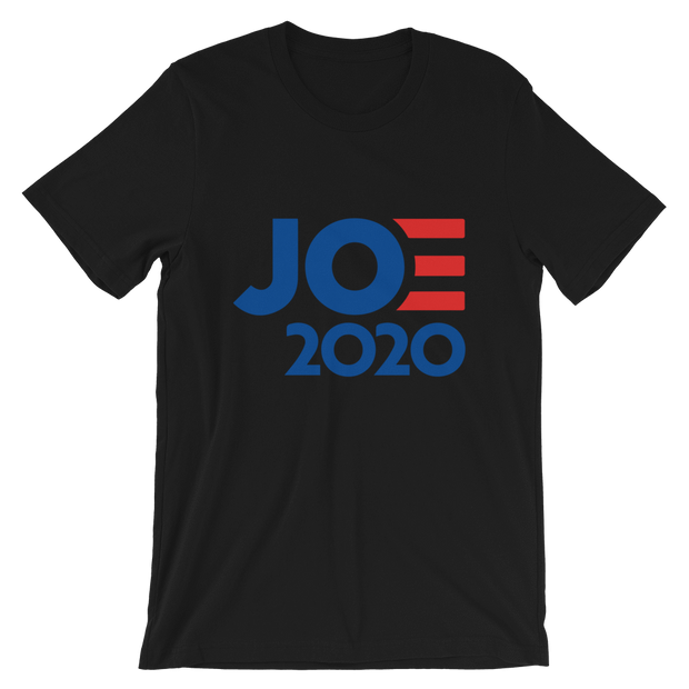 Joe 2020 Short-Sleeve Unisex T-Shirt, black, text blue with red E