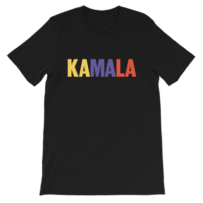 Kamala Harris 2020 Short-Sleeve Unisex T-Shirt , black with yellow, purple and orange text