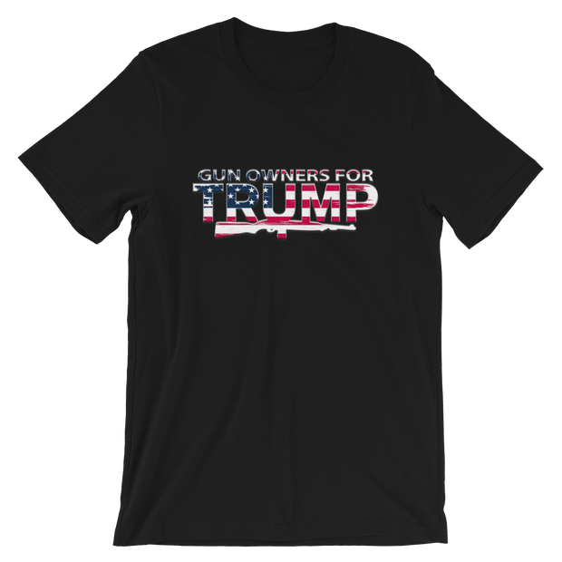 Gun Owners for Trump American Flag Short-Sleeve Unisex T-Shirt - Buttonsonline