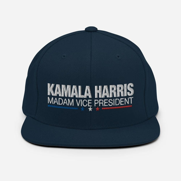 Kamala Harris Madam Vice President snapback hat, white text on navy blue hat, blue white and red stars