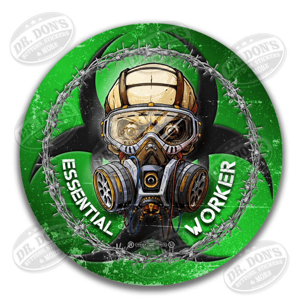 Essential worker skull gas mask green vinyl sticker decal