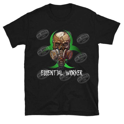 Essential Worker Skull Black T Shirt
