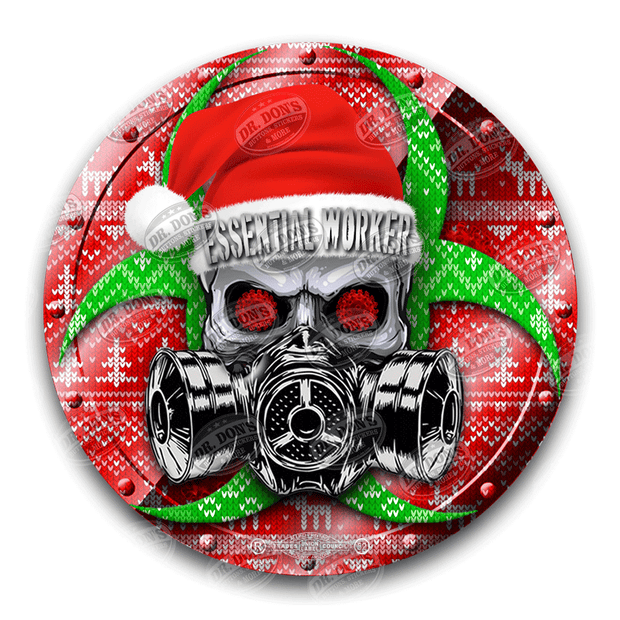 Essential Worker Hard Hat Vinyl Sticker / Santa Edition