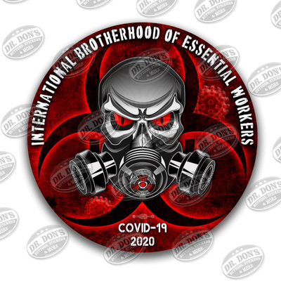 International Brotherhood of Essential Workers Covid 19 Skull and Gas Mask Red Vinyl Sticker