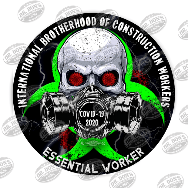 Construction Workers Skull Gas Mask Essential Worker Hard Hat Sticker Sticker