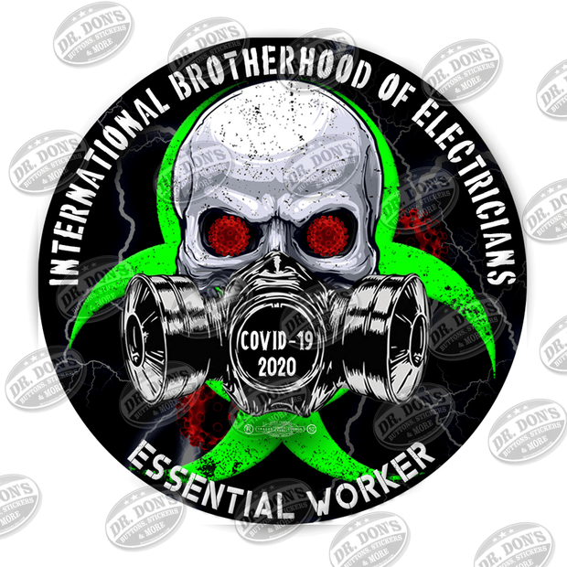 Electricians Skull Gas Mask Essential Worker Hard Hat Sticker Sticker